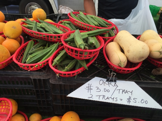 Fresh okra at the Little Italy Mercato